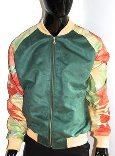 Green Floral Suede Baseball Jacket