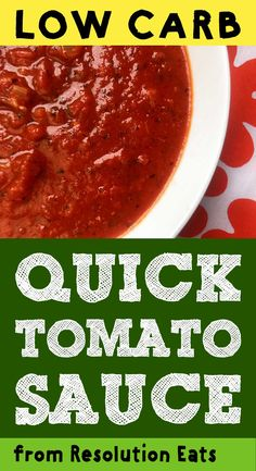 This quick low carb tomato sauce is super easy to make and only has net carbs per serving. Traditional spaghetti sauces are simmered for several hours, but you really only need ten minutes to make a very passable sauce. This spaghetti sauce is Keto, Keto Sauces, Low Carb Sauces, Low Carb Recipes, Diet Recipes, Cooking Recipes, Healthy Recipes, Ketogenic Recipes, Ketogenic Diet, Keto Spaghetti Sauce Recipe