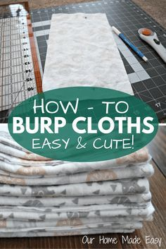 Homemade Baby Burp Cloths - Homemade Baby Burp Cloths An easy step by step guide for beginning sewers! Perfect for a baby shower gift and can be made in less than 30 minutes! Sewing Projects For Kids, Sewing For Kids, Sewing Ideas, Sewing Tips, Diy Projects, Sewing Patterns, Sewing Crafts, Burp Cloth Patterns, Clothes Patterns