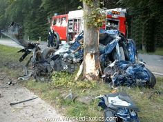 This is what a Mercedes SLK looks like after slamming into a tree at 135 MPH in Germany.