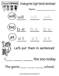 kindergarten sight words worksheet - Printable Activities For Kindergarten