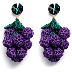 Venessa Arizaga 'Have a Grape Day' rhinestone crochet drop earrings ($189) ❤ liked on Polyvore featuring jewelry, earrings, purple, rhinestone drop earrings, crochet earrings, purple jewelry, rhinestone earrings and macrame earrings