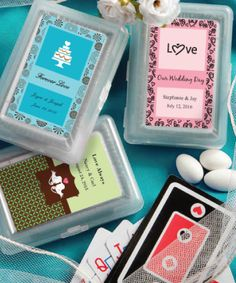 Deal a great hand with these Design Your Own Playing Card Wedding Favors! It�s all in the cards when choosing our personalized playing cards as your favors. Wedding Favors Unlimited, Personalized Wedding Favors, Personalized Labels, Unique Wedding Favors, Wedding Party Favors, Unique Weddings, Wedding Cards, Wedding Ideas, Wedding Invitations