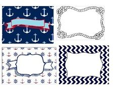 A set of 16 labels with a nautical theme. Super cute, and the kids love them!  Just insert a textbox onto the label, use whatever font you like, and print!