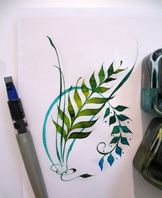 "My ""fern fantasy"" originated years ago, as I was sitting at my computer in the floor office tower where I worked in Toronto, Ontario. Flipping through a mag. Calligraphy Letters, Caligraphy, Penmanship, Calligraphy Borders, Calligraphy Drawing, Islamic Calligraphy, Illuminated Letters, Illuminated Manuscript, Art And Illustration"