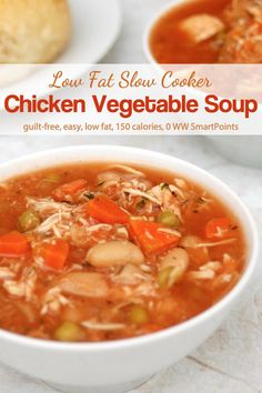 Simple to make and hearty and delicious to eat, this low fat Slow Cooker Chicken Vegetable Soup is a winner for a soup lovin' gal like me - with just 150 calories and 0 WW Freestyle SmartPoints! Crock Pot Soup, Slow Cooker Soup, Slow Cooker Chicken, Slow Cooker Recipes, Crockpot Recipes, Dinner Crockpot, Vegetable Soup With Chicken, Vegetable Soup Recipes, Chicken And Vegetables