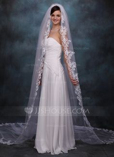 Wedding Veils - $49.99 - One-tier Cathedral Bridal Veils With Lace Applique Edge (006020359) http://jjshouse.com/One-Tier-Cathedral-Bridal-Veils-With-Lace-Applique-Edge-006020359-g20359