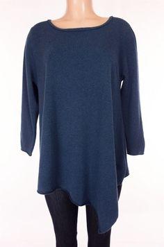 JOAN VASS Cashmere Sweater Size M Medium Blue Asymmetrical Lagenlook Knit #JoanVass #Tunic