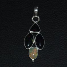 925 STERLING SILVER NATURAL ETHIOPIAN FIRE BLACK OPAL CAB PENDANT JEWELRY 112