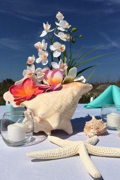 Centro de Mesa colorido, ideal para una Boda en Playa