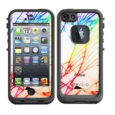 Skins FOR Lifeproof iPhone 5 Case – White iPhone back cracked Shattered look pattern - Free Shipping  - Lifeproof Case NOT included