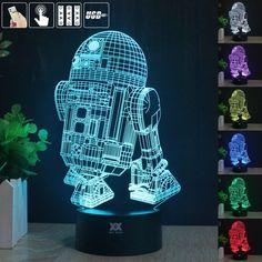 Mendapatkan free remote control lampu star wars 3d visual led Lampu malam untuk Anak-anak Sentuh R2-D2 USB Meja Lampe Bayi Tidur Nightligh