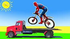 Superhero Bikes Colors - Learn Numbers and ABC in Spiderman Car Cartoon ...