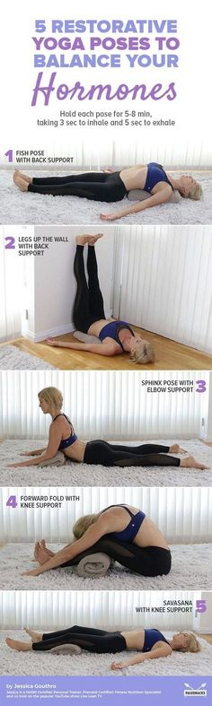 Have you noticed your hormones may be off-balance? Here is a relaxing yoga routine to help get you back on track. Get the full yoga sequence here: paleo diet chart Fitness Workouts, Yoga Fitness, Muscle Fitness, Health Fitness, Fitness Plan, Easy Fitness, Fitness Games, Fitness Motivation, Dance Fitness