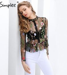 00c75add7004 Simplee Black flower embroidery blouse shirt Women tops blouse chemise  femme camisa Transparent long sleeve summer 17 blusas