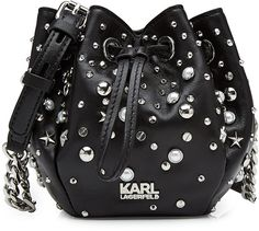Karl Lagerfeld Embellished Leather Drawstring Bag - Edgy, tough and tactile with silver-tone embellishments, this drawstring bag from Karl Lagerfeld is crafted from smooth black leather for a sumptuous finish - we love the compact size for day to night ease - Black leather, silver-tone embellishments, adjustable shoulder strap with chain detail, drawstring top, fabric lining - Rounded silhouette      100% Leather