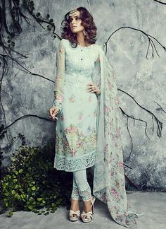 Aloe Green Color with Patch Work Straight Cut Salwar Kameez Online