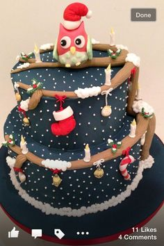 Christmas cake idea that's a bit different to the usual... I like the stocking and little bits hanging off the 'branches'