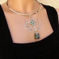 Sterling Gemstones Wire Sculpture Pendant by sparkflight on Etsy