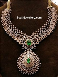Diamond Necklace and Jhumkas Set