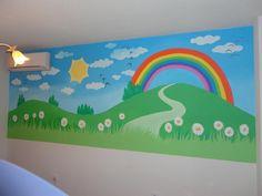 Mural Campo con arcoiris