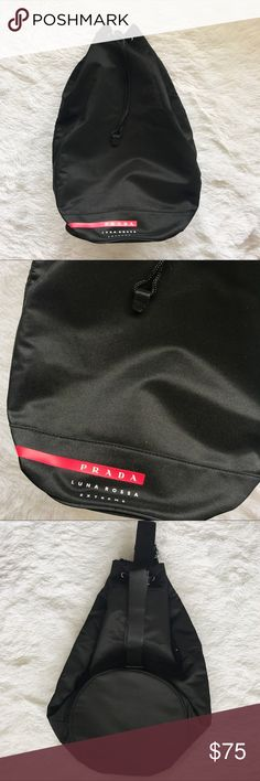Prada Luna Rossa Extreme Sling Bag New without tag Large main compartment with drawstring closure One strap you can throw over your shoulder or wear like a cross body backpack Big and roomy Prada Bags Backpacks