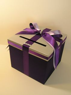 Silver n  purple Wedding Card Box Gift Card Box Holder--Customize your color. $60.00, via Etsy.