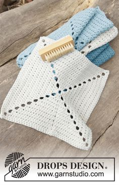 "Paño DROPS de ganchillo, en ""DROPS ♥ YOU #5"" o ""Paris"". Free Pattern"