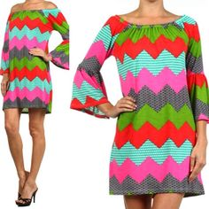 Brighten up your wardrobe with this Chevron Dress! With an elasticized neckline it can even be worn off the shoulders!  http://www.brandisboutiqueshop.co/item_2156/Bright-Chevron-Bell-Sleeve-Dress.htm.