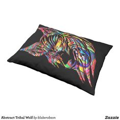 Abstract Tribal Wolf Pet Bed