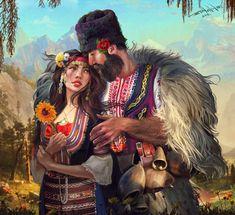 ArtStation - Flower for you , Kaloyan Stoyanov Folk Clothing, Tattoos Gallery, Couple Art, Easy Paintings, World Cultures, Artist Painting, Folklore, Flower Art, Art History