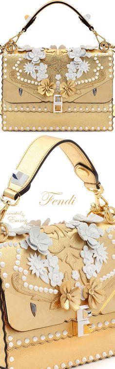 Brilliant Luxury♦Fendi Candy Colours Spring 2017♦Kan I Wonder Monster Shoulder Bag in White-Gold