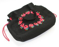 Black Woven Fabric Handbag Embroidered Red Roses by PastSplendors