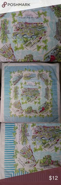 """Just in! Vintage Dublin Scarf Vintage Dublin Sheer Scarf Square. Scarf center features O'CoNell Bridge, River Liffey and is surrounded by images of: Dunmore East Waterford; Ross Castle Hillarney; O Connell Street, Limerick City; Glenveigh Castle Co. Donegal, St Patrick's Bridge Cork.; Bray Head; Johnstown Castle Wexford; and, Dublin Airport. Excellent vintage condition. Cream background, color block blue border, green, blue, black, red, yellow. Measures approx: 26-3/4"""" x 28""""    Historic…"""