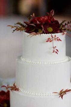 fall themed burgundy wedding cake