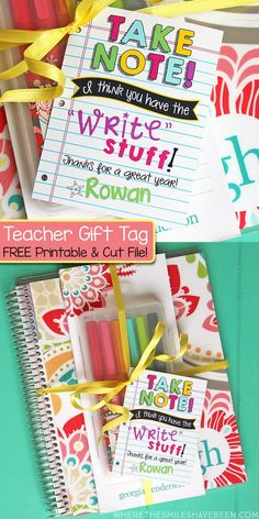 This is SO CUTE!  Stationery Teacher Gift Idea + FREE Printable Tag & Silhouette Cut File! | Where The Smiles Have Been