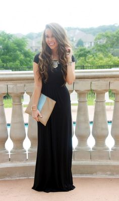 Deco Crystal Sun Ray Necklace paired with a black open back maxi dress | via Sunshine and Stilettos