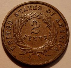 1865 United States of America Two Cent Piece Coin Civil War Coins make Cents