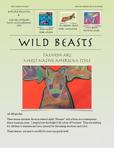 "This lesson bundle includes 3 Matisse and the Fauvist art movement and its influence on Apache Artist John Learn about the Menominee Sturgeon Feast and learn to draw a prehistoric fish ""Fauvist"" style. Includes a guided drawing handout. Native American Artists, Native American Fashion, Fauvism, Art Lesson Plans, Learn To Draw, Matisse, Prehistoric, Art Lessons, Nativity"