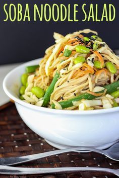 This is a simple and refreshing cold soba noodle salad with a flavour packed miso and tahini dressing. High in protein and vitamin C, it's a healthy plant-based meal that you'll come back to time and again. #vegan #vegetarian #dairyfree #salad #noodles #edamame #tahini #miso #lunch #dinner #recipes #food #healthy #protein #plantprotein