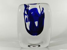 free blown heavy glass vase with blue color inside, designed by floris meydam for leerdam unica / holland 1970s