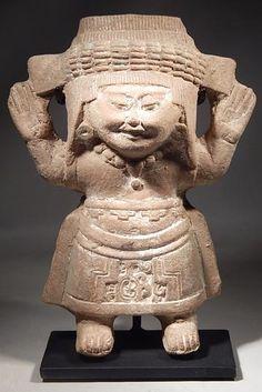 Ancient Mexico Vera Cruz Veracruz Sonriente Smiling Rattle Whistle Figure