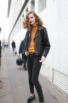 Step up your off-duty look in a black leather moto jacket and black skinny jeans. rock a pair of black suede loafers.capitalize to va-va-voom your outfit.  Shop this look for $114:  http://lookastic.com/women/looks/tobacco-turtleneck-black-biker-jacket-black-skinny-jeans-black-loafers/6716  — Tobacco Turtleneck  — Black Leather Biker Jacket  — Black Skinny Jeans  — Black Suede Loafers