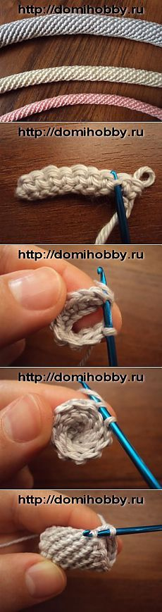 Вязание жгута крючком for cord only the picture. Crochet Cord, Crochet Diy, Crochet Motifs, Crochet Stitches Patterns, Irish Crochet, Crochet Crafts, Crochet Projects, Knitting Patterns, Crochet Handbags