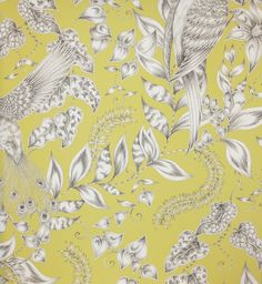 Kayyam Wallpaper Exotic birds and foliage printed in monochrome on a chartreuse background.