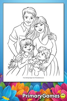 Family Coloring Page Mothers Day Coloring Pages, Family Coloring Pages, Coloring Pages To Print, Coloring Book Pages, Coloring Sheets, Family Drawing, Boy Drawing, Cute Family, All Family