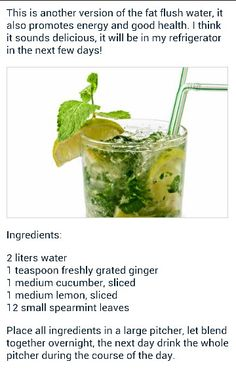 I'm not sure I'm on board with the fat flush part but it sounds delicious.  May try it anyway.