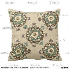 Ancient Color Mandala, Smoke Green Throw Pillow