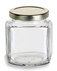 Specialty Bottle - 9 oz (270 ml) Oval Hexagon Glass Jar with Gold Lid, $1.26 (http://www.specialtybottle.com/glass-jars/oval-hexagon/9oz-ohx9)