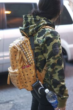 A bathing Ape and an MCM bag. #womensfashion